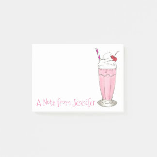 Pink Strawberry Milkshake Personalized Ice Cream Post-it Notes