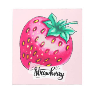 Pink strawberry notepad