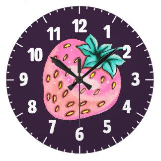Pink strawberry on purple background large clock