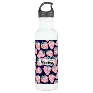Pink Strawberry pattern on purple background 710 Ml Water Bottle