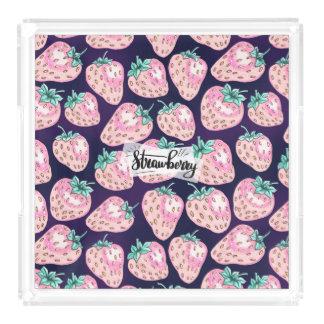 Pink Strawberry pattern on purple background Acrylic Tray