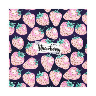Pink Strawberry pattern on purple background Canvas Print
