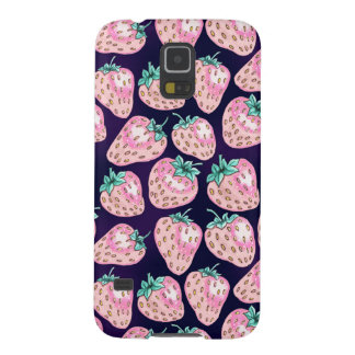 Pink Strawberry pattern on purple background Case For Galaxy S5