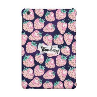 Pink Strawberry pattern on purple background iPad Mini Retina Cover