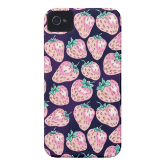 Pink Strawberry pattern on purple background iPhone 4 Case