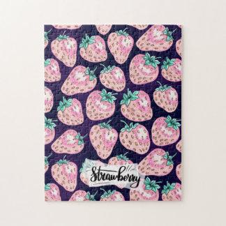 Pink Strawberry pattern on purple background Jigsaw Puzzle