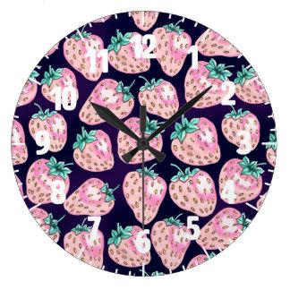 Pink Strawberry pattern on purple background Large Clock