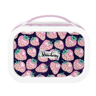 Pink Strawberry pattern on purple background Lunch Box