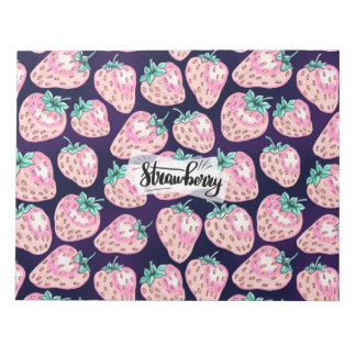 Pink Strawberry pattern on purple background Notepad