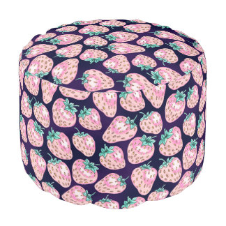 Pink Strawberry pattern on purple background Pouf