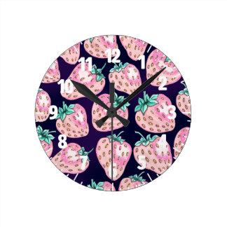 Pink Strawberry pattern on purple background Round Clock