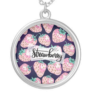 Pink Strawberry pattern on purple background Silver Plated Necklace