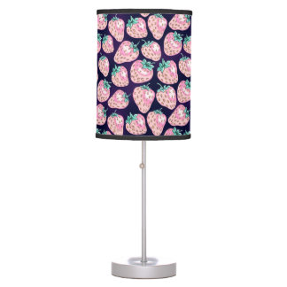 Pink Strawberry pattern on purple background Table Lamp