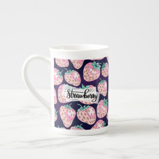 Pink Strawberry pattern on purple background Tea Cup