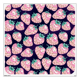 Pink Strawberry pattern on purple background Wall Decal