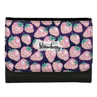 Pink Strawberry pattern on purple background Wallets