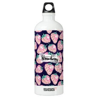 Pink Strawberry pattern on purple background Water Bottle