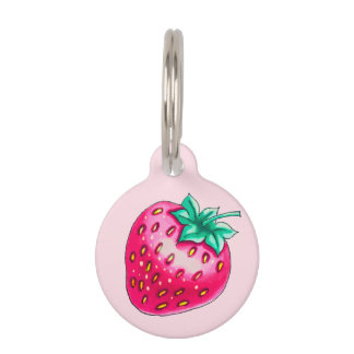 Pink strawberry pet name tag
