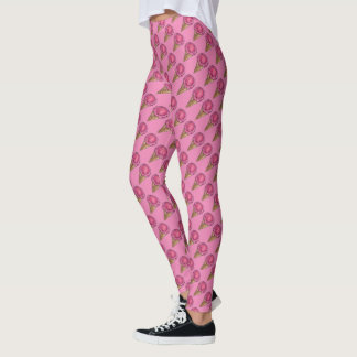 Pink Strawberry Scoop Ice Cream Cone Food Leggings