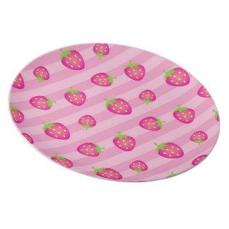 Pink Strawberry Stripe-Fruit Picnic #2 Plates