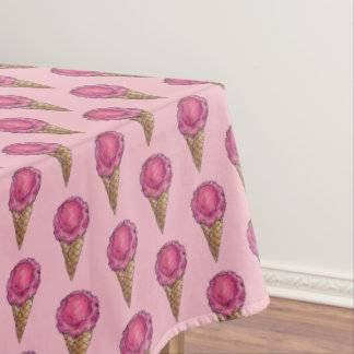 Pink Strawberry Waffle Cone Ice Cream Dessert Food Tablecloth