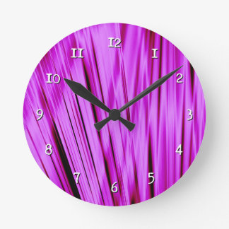 Pink streaked lines pattern round clock