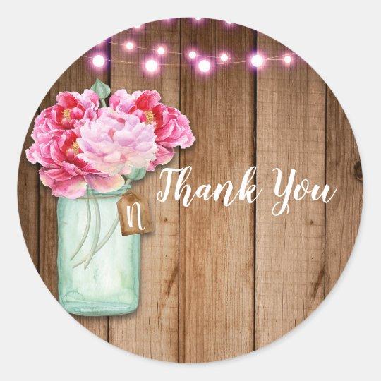 Pink String Lights & Mason Jar Flowers Rustic Wood Classic Round Sticker