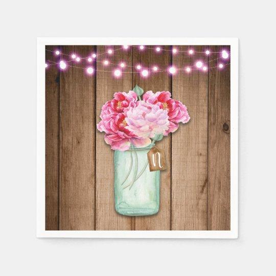 Pink String Lights & Mason Jar Flowers Rustic Wood Paper Napkin