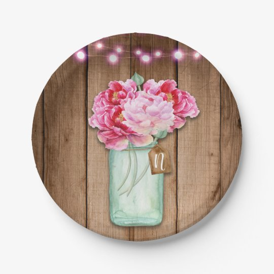 Pink String Lights & Mason Jar Flowers Rustic Wood Paper Plate