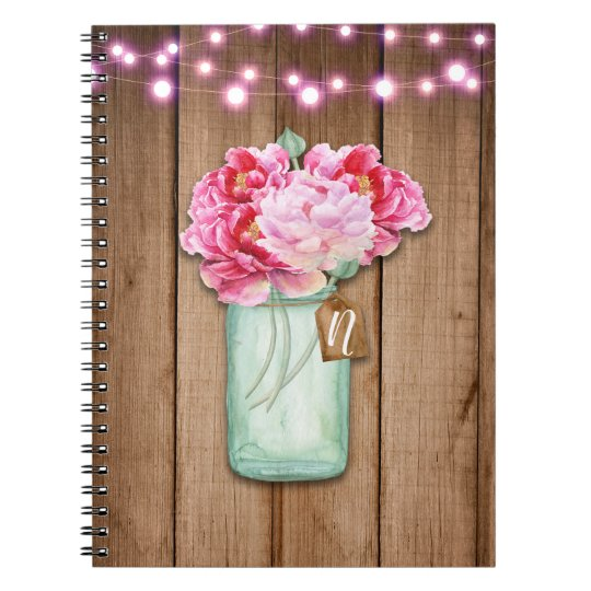 Pink String Lights & Mason Jar Flowers Rustic Wood Spiral Notebook