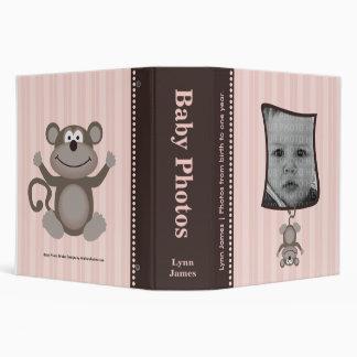 Pink Stripe Baby Photo Album with Monkey 3 Ring Binder
