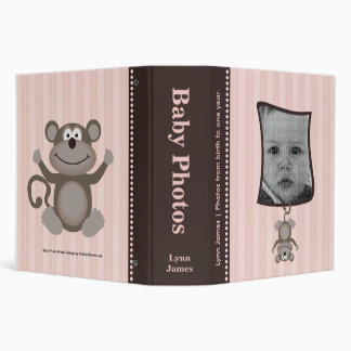 Pink Stripe Baby Photo Album with Monkey Binders
