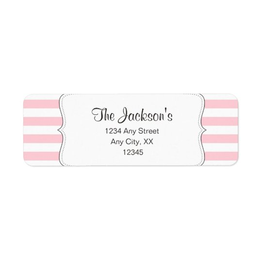 Pink stripe baby shower return address