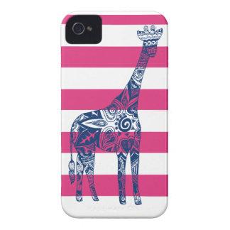 Pink Stripe Blue Giraffe iPhone Case