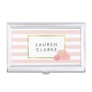 Pink Stripe & Blush Peony Business Card Holder