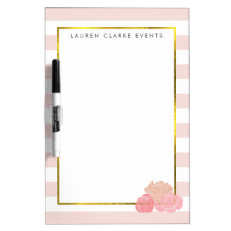 Pink Stripe & Blush Peony Dry Erase Board