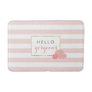 Pink Stripe & Blush Peony Hello Gorgeous Bath Mat