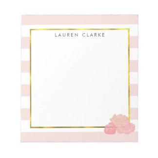 Pink Stripe & Blush Peony Personalized Notepad