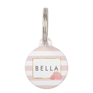 Pink Stripe & Blush Peony Personalized Pet Tag