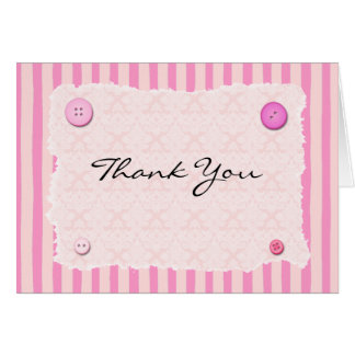 Pink Stripe Brocade ButtonThank you Card