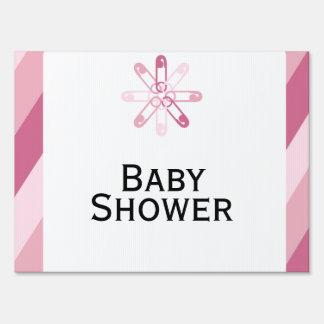 Pink Stripe Diaper Pins Baby Shower Yard Sign
