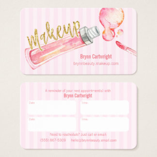 Pink Stripe Makeup Appointment Card with Lipgloss