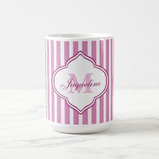 Pink Stripe Monogram Coffee Mug