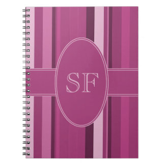 Pink Stripe Monogram Notebooks