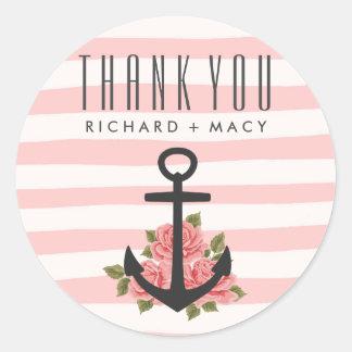 Pink Stripe Nautical Wedding Thank You Stickers