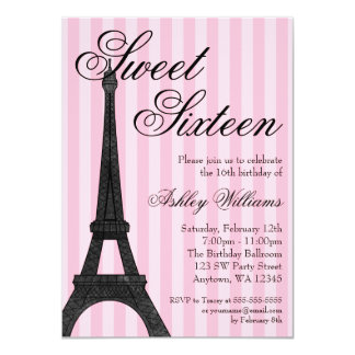 "Pink Stripe Paris Themed Sweet 16 Birthday 4.5"" X 6.25"" Invitation Card"