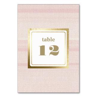 Pink Stripe Pattern Wedding Table Number Cards