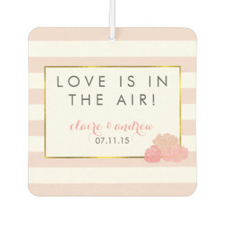Pink Stripe & Peony Wedding Favor Air Freshener
