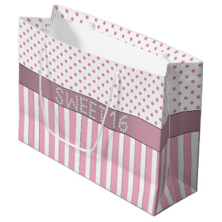 Pink Stripe/Polka Dot Diamond Sweet 16 Gift Bag L