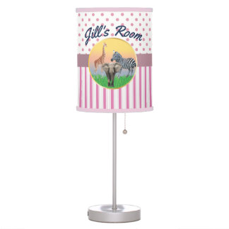 Pink Stripe/Polka Dot Zoo Animal Girls Room Table Lamp